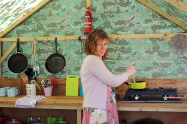Cooking in the yurt camp kitchen